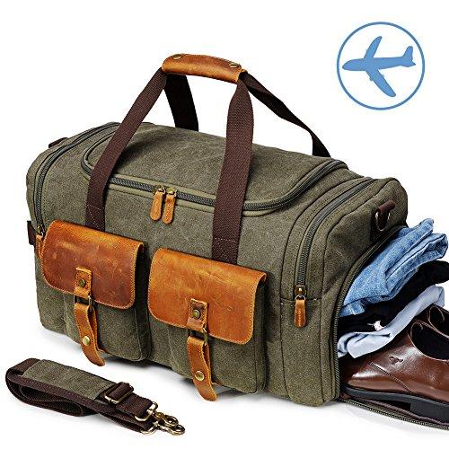 Canvas Weekender Reisetasche Leder Reisegepäck Duffle Bag Handgepäck Tasche Leather Wasserdicht für Herren Damen Armeegrün (Weekender Cross Body)