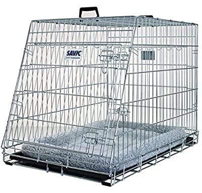 Collapsible Metal Dog Cage - Mobile with Cushion - with a Sloping Front Fits in the Back of the Car - Keeps your Dog Secure and Comfortable in the Car from Savic