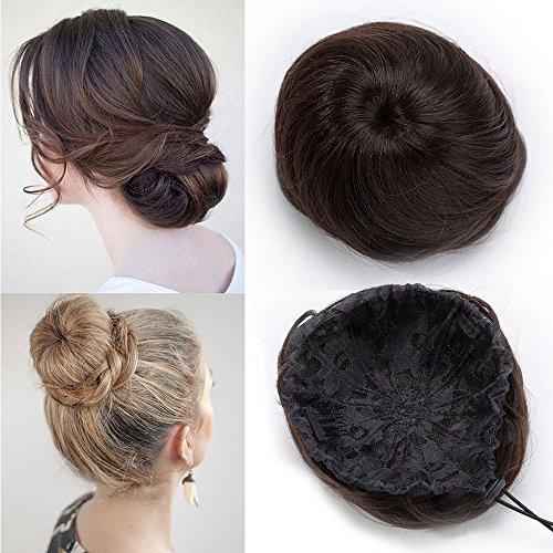 TESS Haargummi Haarteil Dutt mit Haaren Mittelbraun Glatt Haarknoten Hochsteckfrisuren günstig für Frauen 45g