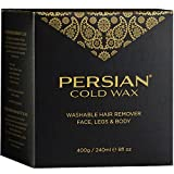 Persian Cold Wax Kit, Hair Removal Sugar Wax for Fine to Medium Hair Types Body Waxing Women & Men, 8 oz (240ml) wax, 20 strips, 2 spatulas
