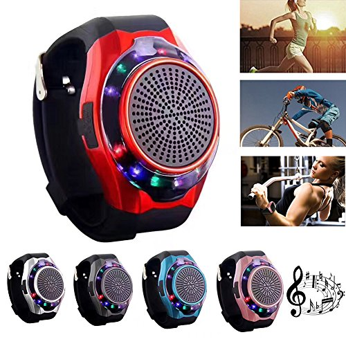 Bluetooth music Watch phone mobile speaker Marquee Colorful Sports Watch Bluetooth Speaker Phone Wireless Support TF Card Mini Speaker Handsfree Call Outdoor Bicycle (Red)