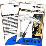Sony Xperia X Glas Glasfolie 9H Panzerglas Panzerglasfolie Hartglas (bewusst kleiner als das Display, da dieses gewölbt ist)