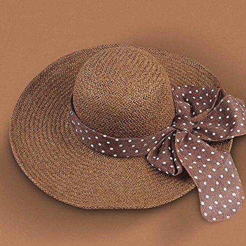 HWTYM Chapeau de paille Été Chaise de plage pour femme Chapeau de paille Chapeau de paille pliant en plein air Large Wide Brim ( Couleur : 5* ) 6*