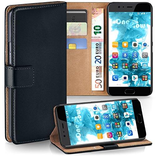 moex Huawei P10 Plus | Hülle Schwarz mit Karten-Fach 360° Book Klapp-Hülle Handytasche Kunst-Leder Handyhülle für Huawei P10 Plus Case Flip Cover Schutzhülle Tasche