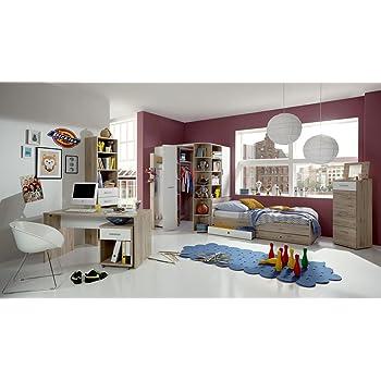 5 tlg jugendzimmer in alpinwei mit eckschrank b 124 cm for Jugendzimmer set mit eckschrank