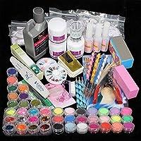 TEEROVA Nail Art Kit, 42 Acrylic Powder Liquid Brush Glitter Clipper Primer File Nail Art Tips Set Kit