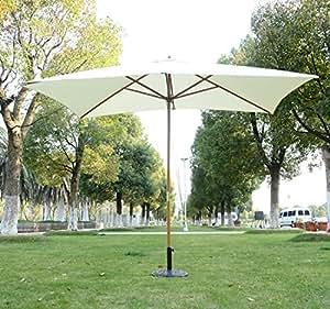 Outsunny ombrellone in legno da esterno giardino 2x3m crema giardino e giardinaggio - Ombrelloni da giardino amazon ...