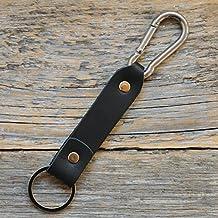 Negro Llavero de cuero con gancho de mosquetón, llavero leontina soporte