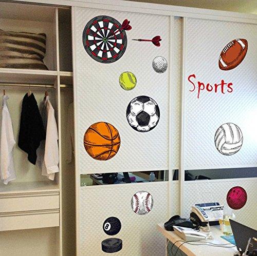 Hongrun Kinder sind Kindergarten Klasse Cartoon Ballsportarten Zimmer Poster Basketball Fußball Aufkleber 62 * 102 cm