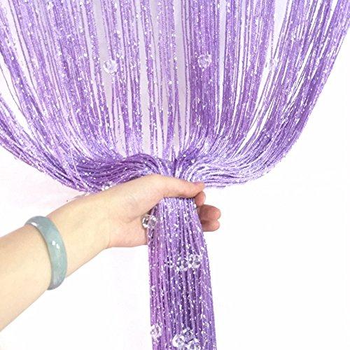 aihometm Quaste Perlen Vorhang Kristall Perlen Design mit Silber Gewinde String Tür Vorhang Fenster für Raumteiler Trennwand (100cm x 200cm/99,1x 198,1cm Zoll) Violett (Fenster Vorhang Mit Perlen)