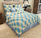 Home Candy Floral Elegant Cotton Double Bedsheet with 2 Pillow Covers - Blue