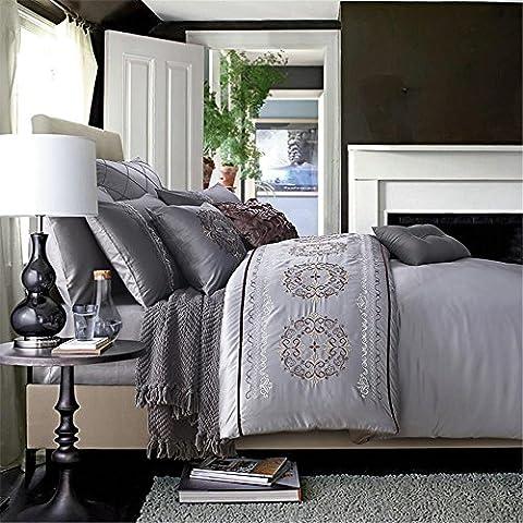Europäischen Luxus blau/grün Satin Jacquard Bettbezug Bettwäsche Set Queen-Size 4pc , Roch
