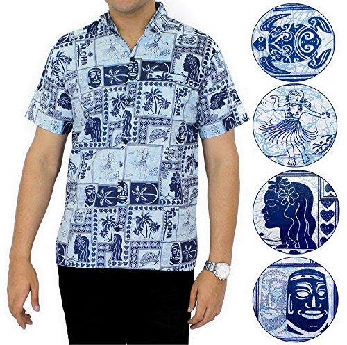 LA LEELA Shirt camisa hawaiana Hombre XS - 5XL Manga corta Delante de