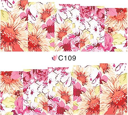 1 planche de Slider/Wrap/Full Cover Nail Stickers pour ongles, Hydrosoluble : C de 109 Fleurs