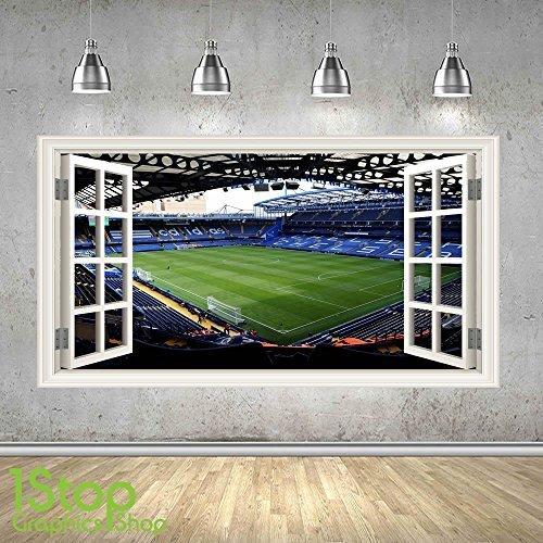 Chelsea Stadium Wandaufkleber 3D Optik - Jungen Kinder Stamford bridgefootball Schlafzimmer Z457 - Large: 70 cm x 125 cm