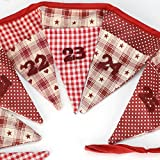 Red & White Cotton Fabric Christmas Hanging Advent Calendar Bunting