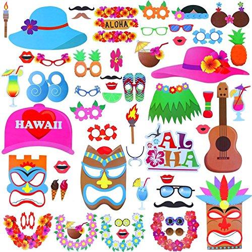 Weddecor Photo Booth Requisiten Hawaiian 46Stück Hochzeit, Geburtstag, Pool, Urlaub, Strand, Thema basiert, Sommer Dekoration Parteien DIY Funny, 28