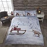 Weihnachten Husky Hund Welpen Schlitten Schnee Bäume weiß beige Double (Uni weiß Spannbetttuch–137x 191cm + 25) Uni weiß Kissenbezügen 6-teiliges Bettwäsche-Set