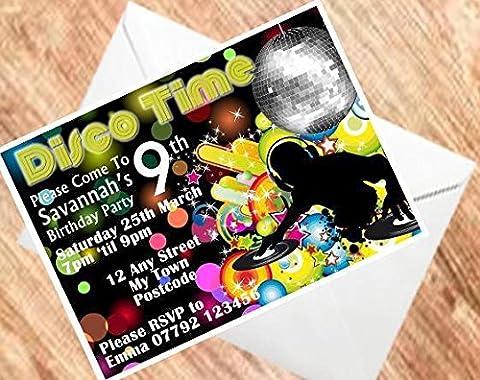 Disco lädt Personalisierte Geburtstags Party Einladungen 250gsm Karte (A630) (Personalisierte Einladungen)