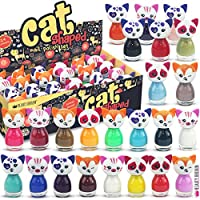 24 x Nail Polish Cat Shaped Peel-off Water Based 24 Different Colours Luxury Box