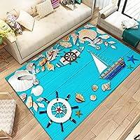 WXDD Mediterranean style 3D carpet living room sofa tea mat summer 3D floor mat household bedroom rectangular door mat,Mat 60x90,Twenty Thousand Leagues Under the sea
