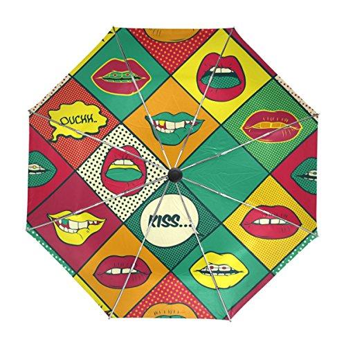 ALAZA Labios Comic Recorrido Retro Paraguas de Apertura automática Cerca de protección UV a Prueba de Viento Ligero Paraguas