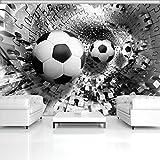 FORWALL Fototapete Tapete Fußbälle in 3D Puzzle Tunnel P4 (254cm. x 184cm.) Photo Wallpaper Mural AMF3382P4 Gratis Wandaufkleber Fußball Sport Sportler Sportplatz Schwarz Weiss