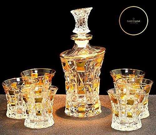 EMPEROR Luxus Vergoldetes Whiskey Rum Brandy Wodka Dekanter + 6 Gläser Set – Gold Crystal...