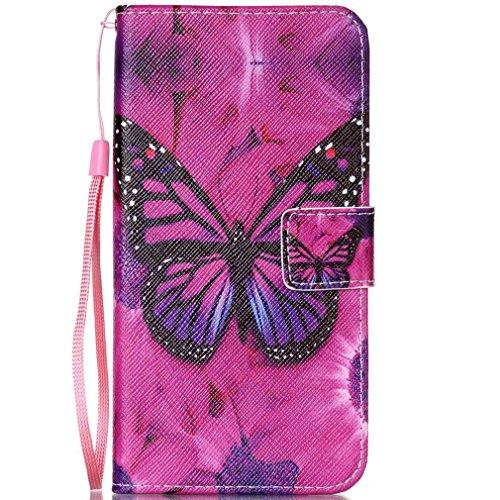 LMAZWUFULM Hülle für HTC Desire 650/628 / 626G 5.0 Zoll PU Leder Magnet Brieftasche Lederhülle Blumen Schmetterlinge Muster Stent-Funktion Schutzhülle Flip Cover für HTC 650/628 / 626G