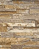 Wandbelag Naturstein Stonewall sand Steinwand Ceramics Fliesen Tapete PVC Belag Meterware NEU