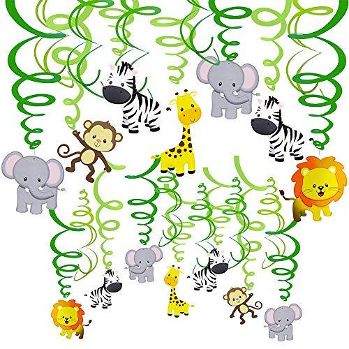 Tiere hängen Swirl Dekorationen grüne Safari Party Wald Tier Thema Zubehör für Baby Dusche Kinder 1. Geburtstag Kindergarten Klassenzimmer Schlafzimmer Badezimmer Tisch Decke Dekor ()