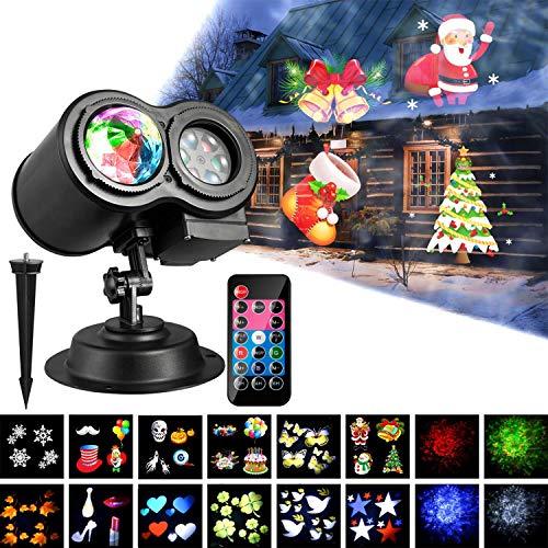 LED Proiettore Luci Natale,Wakana Luce Proiettore 2 in 1 Leggero di Ondulazione 12 Modelli di Diapositive Impermeabile Lampada Proiettore di Illuminazione Esterna/Interna per Festa di Compleanno