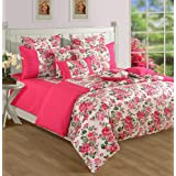 Swayam Printed Cotton Fitted Bedsheet with 2 Pillow Covers - Pink (KFT-1428)
