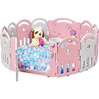COSTWAY Box per Bambini Barriera di Sicurezza 12 Pannelli, Box Bambini con Porta e Giochi, Recinto di Sicurezza…