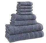 Juego de toallas de calidad de hotel, de bemode, 100% algodón, superssuaves, altamente absorbentes, 4 u 8 piezas: Toallas de baño, de mano y para la cara , algodón, Gris, 8pce Towel Bale