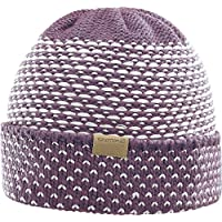 Salomon, Gorro de lana para mujer, Para deportes de invierno, LAURA BEANIE, Morado/Gris claro (Fig/Vaporous Gray), L39684000