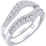 AFFY 1 Ct. Round Double Row Pave Set Curved Enhancer Guard Ring in 14K Gold Over Sterling Silver with Cubic Zirconia