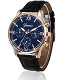 Kingwo, orologio da polso da uomo, stile retrò, cinturino in pelle, analogico, al quarzo, 22 cm