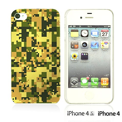 OBiDi - Fabric Pattern Hard Back Case / Housse pour Apple iPhone 4S / Apple iPhone 4 - Red And Green Paisley Digital Camouflage Texture