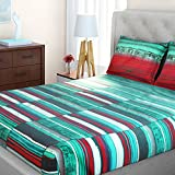 Spaces Bohochic 210 TC Cotton Double Bedsheet with 2 Pillow Covers - Abstract, Aqua