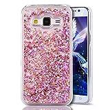 EMAXELERS Galaxy Core Prime SM-G360 Hülle 3D Fließen Flüssig Tasche Handyhülle Glitzer Crystal Clear Hart Hülle Schale Etui Case Cover für Samsung Galaxy Core Prime,Pink Diamond