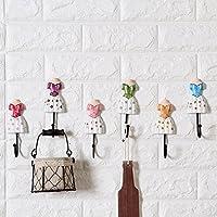 Wooden Iron Princess skirt hook up Creative coat hook Single hook Wall decoration 15*5cm A set of six hooks