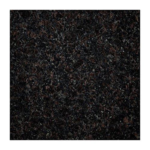 Plateau de table Plan de travail de cuisine Plaque 40cm x 40x 4cm, en granite poli, Pièce unique la main, 10kg noir/marron