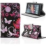 Kit Me Out FR Étui à rabat avec imprimé cuir synthétique pour Sony Xperia M - noir/rose fleurs et papillons