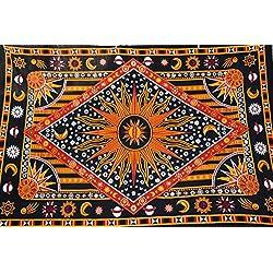 Handicrunch ModTradIndia - Celestial Sun Moon Stars Planet Tapestry , india Hippie tapiz, Bohemia Colcha , manta Mandala algodón decoración del dormitorio Beach