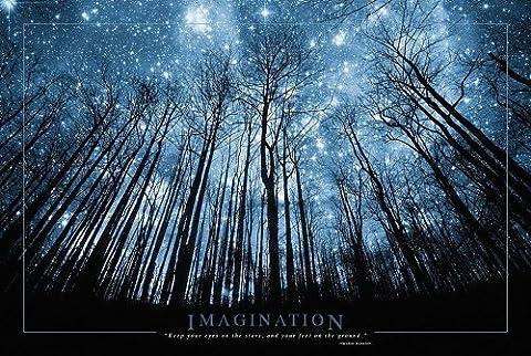 Poster De Foret - Poster Imagination Forêt et ciel étoilé (91,5cm