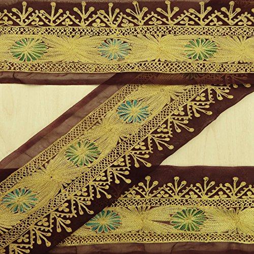 Vintage indische Antike gestickte Sari Border Nähen 1yard Ribbon Wrap Plum Trim (Gestickte Ribbon Trim)