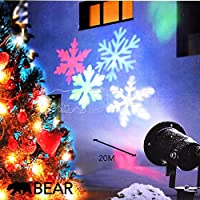 Christmas Projector LED Decoration Pattern Light Landscape Spotlight Snowflakes Rotating Motion IP Waterproof Outdoor Garden Yard Xmas Indoor Moving Multicolour Sparkling Party Ceiling Lamp GearbyBear by GearbyBear