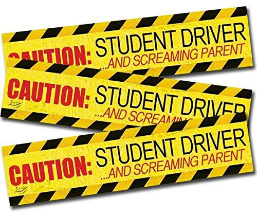 """Preisvergleich Produktbild Zento Deals """"Caution Student Treiber und Screaming Eltern"""" Auto-Magnet Funny Neue Treiber Magnet 30,5x 7,6cm (3Pack)"""