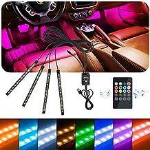 idefair (TM) tira de luces LED para interior de coche luz, 48LEDs Multicolor impermeable música coche interior kit de iluminación para de coche camión Van camión motocicleta, con sonido función activa, mando a distancia inalámbrico